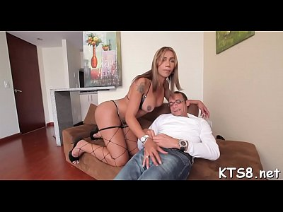 Small-tittied shemale slut in act