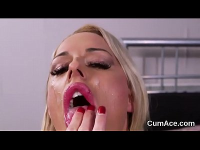 Unusual centerfold gets jizz shot on her face sucking all the spunk