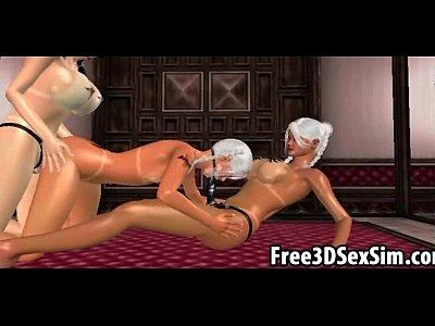 Three sexy 3D cartoon lesbian hotties have group sex