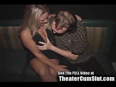 Blonde Birthday Slut's Public Porn Theater Sex Celebration