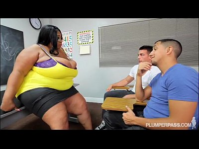 Busty Black BBW Teacher Fucks 2 Hung Stud Students
