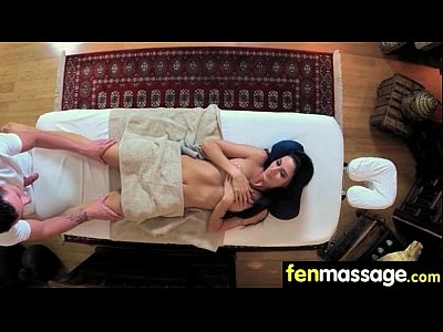 Sexy babe is massaged and fucked by her masseur 18