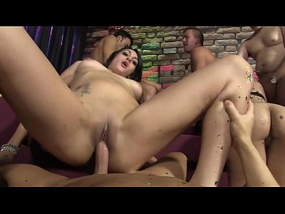 Spanish mega orgy with horny girls