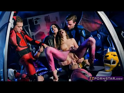 Power Rangers cosplay and group fuck with pornstars