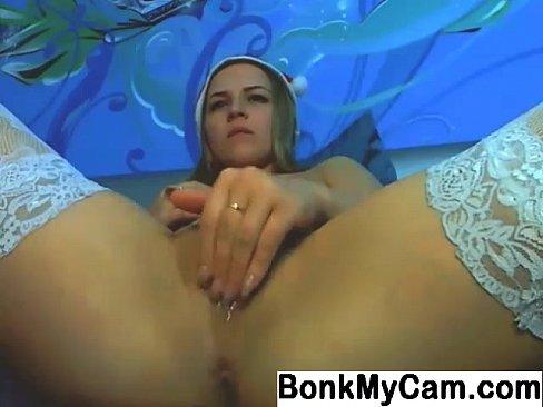 Cute girl fingering pussy on webcam