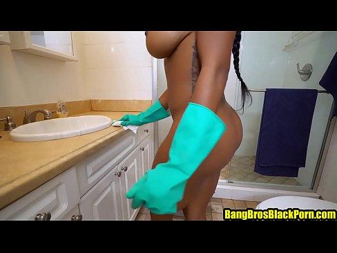 Beautiful black maid gets extra money