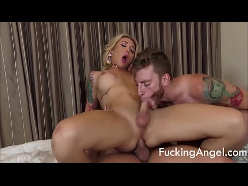 Hottest Tranny Gets Fucked By 2 Guys