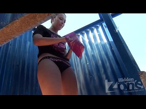 spy cam in beach  cabin
