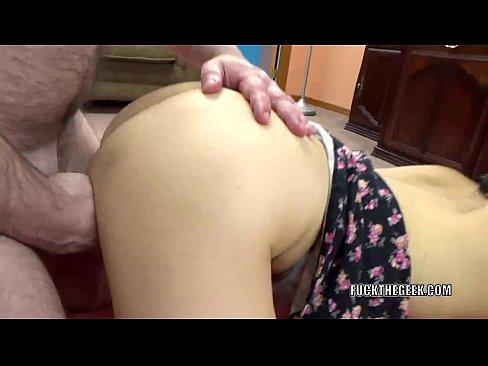 Asian slut Yuka Ozaki takes some dick from a lucky geek