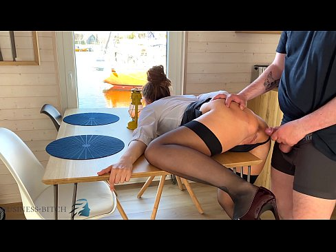 personal assistant lunch break quickie on a desk in yacht harbor with put back after creampie - business bitch