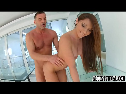 Ass to mouth action for cum filled brunette