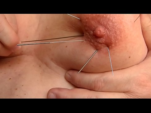 Playng with Long skewer and accupuncture needles im my tits 4