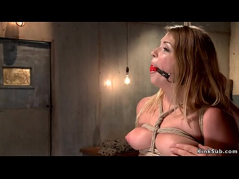 Tied and gagged blonde slave Jenna Ashley gets vibrated in standing bondage then fucked with dick on a stick till gets water bondage while her ass is plugged