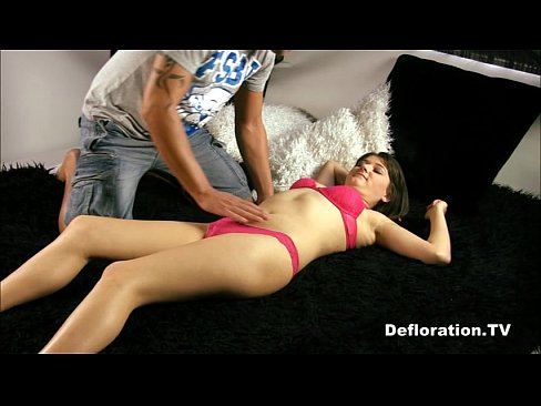 Shy virgin with tiny tits being fucked for the first time