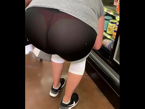 Big booty slut in see through leggings at store showing thong