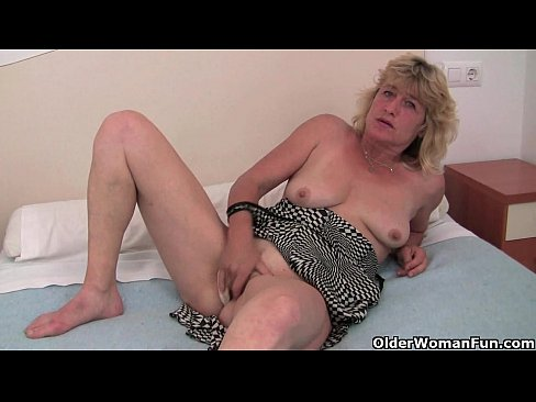 British granny Terry finger fucks her old pussy