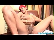 Redhead ebony shemale wanking off her bbc