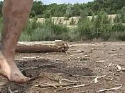 Humping a muddy tree trunk