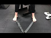 blonde milf barefoot workout part 1-.
