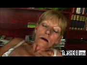 Dirty blonde grandma gets fucked before sucking off younger guy'_s dick