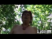Chubby granny with huge dairy section is smacking a loaded penis in the woods