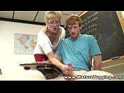 Mature teacher giving handjob to her student