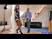 Petite teen doggystyled by lucky grandpa