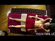 Massaged teen rides cock