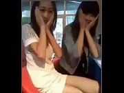Chinese girl'_s skirt flipped by her friend