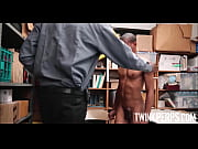 Two Black Straight Twinks Have Sex With Black Jock Mall Cop With Huge Cock After Being Caught Shoplifting