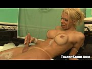 Hot blonde shemale babe jerking off in the bathtub