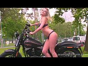 Amazing blonde babe loves her new bike