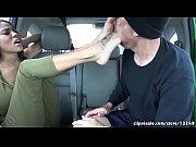 Foot worship in car