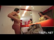 Vulgar ladyboy deepthroats and rides big weenie of her lover