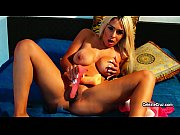 Horny busty blonde MILF Celezte Cruz rides a big toy for fun