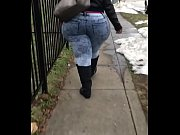Candid pear shaped ssbbw walking in jeans