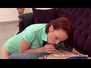Cock Sucking Redhead teen gets her mouth and pussy filled with dick
