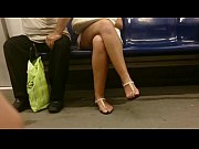 grandfather touch ladys legs in train