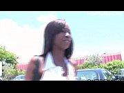 hot ebony babe flashing in public