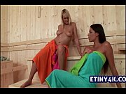 Sauna lesbian sex with two girls licking