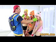 Cosplay teens pussy eaten and fucked during pokemon party