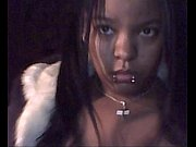 Ebony teen licking huge boobs on webcam