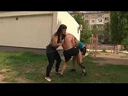 Real mixed wrestling - 1 male bodybuilder vs 2 fitness girl