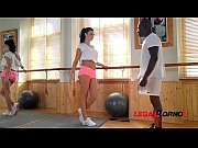 Gym instructor Jasmine Jae fills wet pussy with client&#039_s black monster dick GP177
