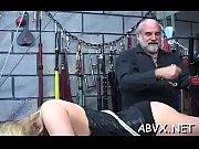 Rough thrashing and harsh bondage on woman&#039_s pussy