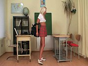 Schoolgirl caught jerking off her pussy by her teacher!
