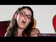 Girls Out West - Busty hairy girl masturbates in the kitchen