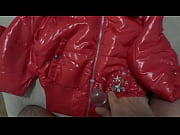 Cum on my Girlfriend'_s Shiny Nylon Jacket