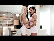 Lesbo stunners strip naked and tease each other