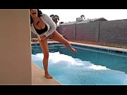girl on holiday pisses in pool